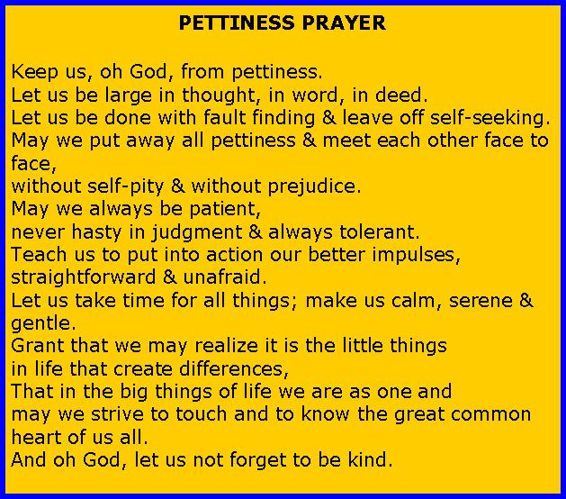 Pettiness prayer